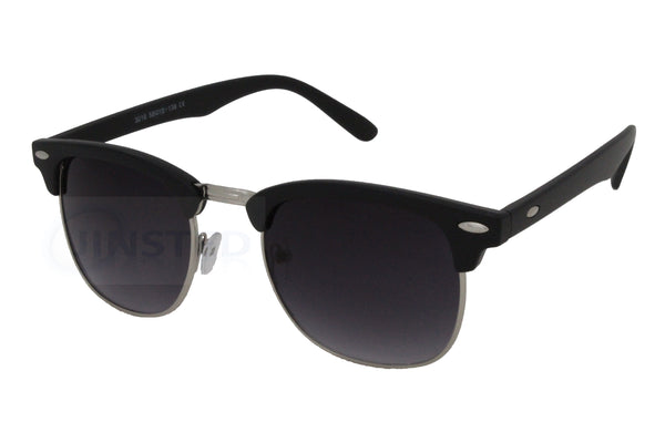 Adult Black Frame Clubmaster Sunglasses Tinted Lens - Jinsted