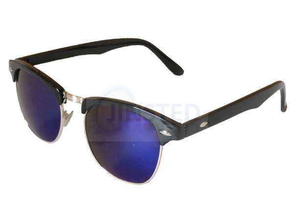 Adult Sunglasses, Adult Blue MIrrored Clubmaster Sunglasses, Jinsted