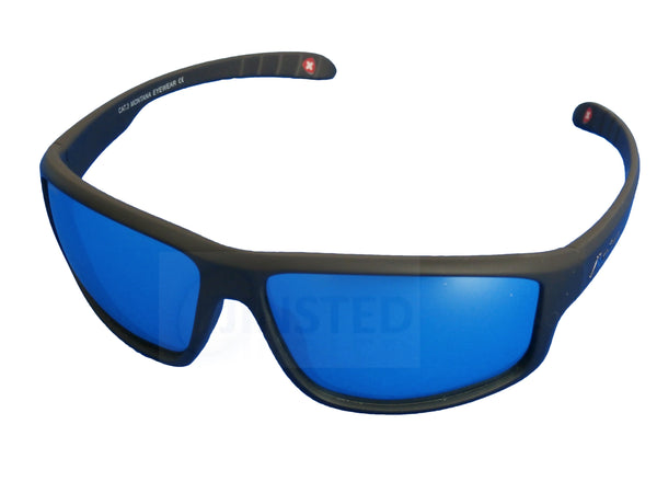 Adult Sunglasses, Premium Quality Black Sports Sunglasses. Polarised Mirrored Blue Lens, Jinsted