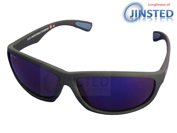 Adult Sunglasses, Premium Quality Black Sports Sunglasses. Polarised Mirrored Purple Lens, Jinsted