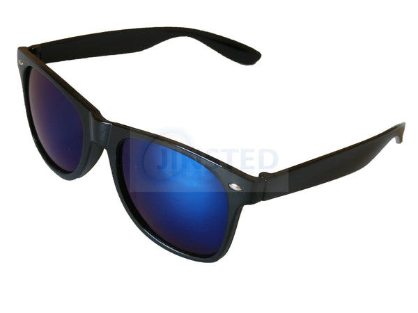 Adult Sunglasses, Adult Blue Mirrored Sunglasses With Black Frame, Jinsted