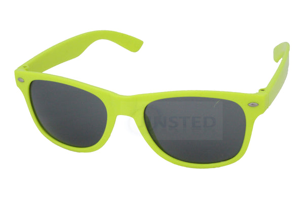 Adult Neon Yellow Frame Sunglasses Black Tinted Lens - Jinsted