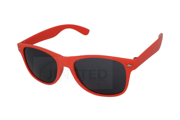 Adult Peach Salmon Frame Unisex Sunglasses Black Tinted Lens - Jinsted