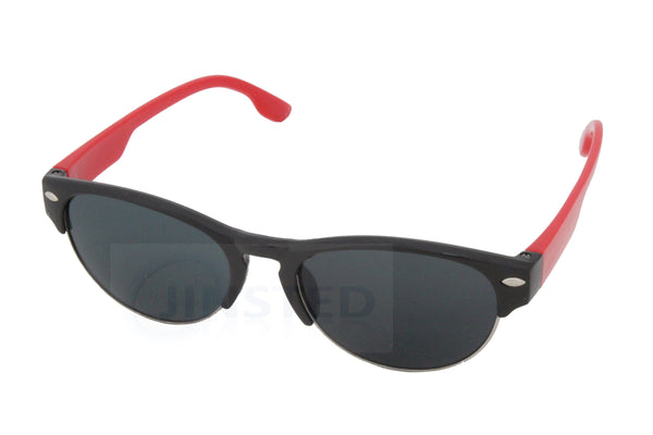 Baby / Toddler Sunglasses Black Semi Rimless Frame Red Arms