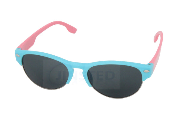Baby / Toddler Sunglasses Blue Half Rimmed Frame Pink Arms - Jinsted