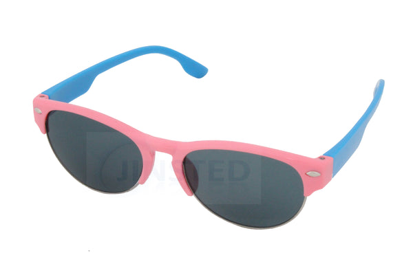 Pink Baby / Toddler Sunglasses Semi Rimless Frame Blue Arms