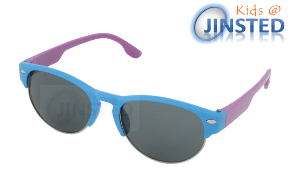 Blue Baby / Toddler Sunglasses Semi Rimless Frame Purple Arms - Jinsted