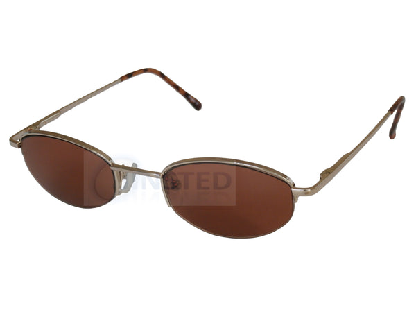 Adult Sunglasses, High Quality Adult Modern Sunglasses Brown Tinted Oval Lens Half Frame, Jinsted