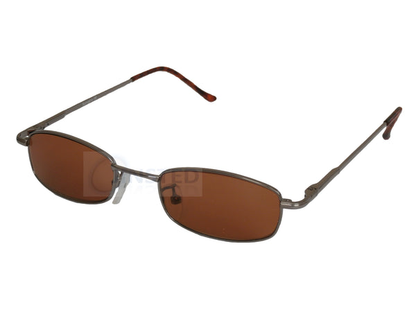 Adult Sunglasses, High Quality Adult Modern Sunglasses Brown Tinted Lens Silver Frame, Jinsted