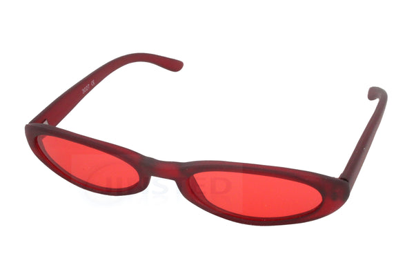 Adult Sunglasses, High Quality Adult Modern Sunglasses Red Tinted Oval Lens and Frame, Jinsted