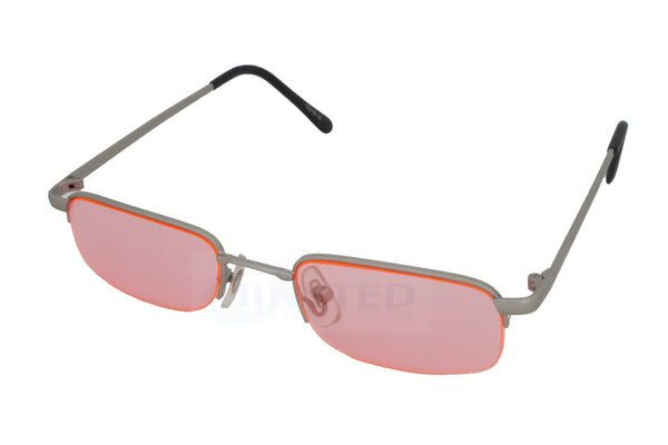Adult Sunglasses, Adult High Quality Modern Sunglasses Pink Tinted Oval Lens and Silver Frame, Jinsted