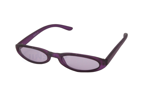 Small Adult High Quality Sunglasses Purple Tinted Oval Lens and Frame