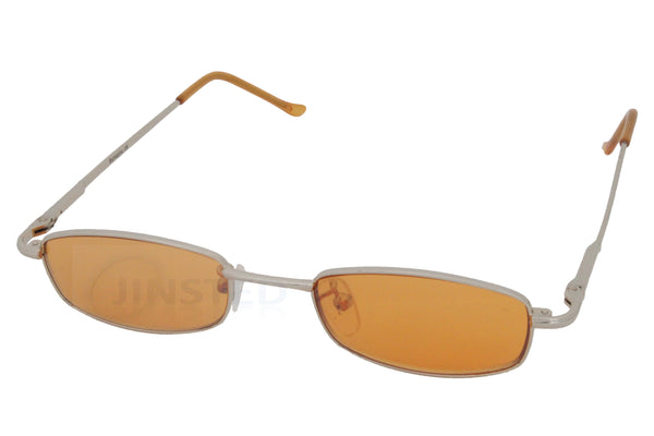 High Quality Adult Sunglasses Orange Tinted Oval Lens and Silver Frame - Jinsted