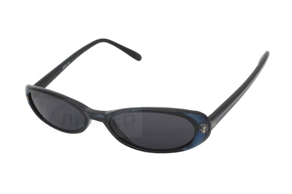 High Quality Adult Modern Oval Tinted Sunglasses Black Blue Frame