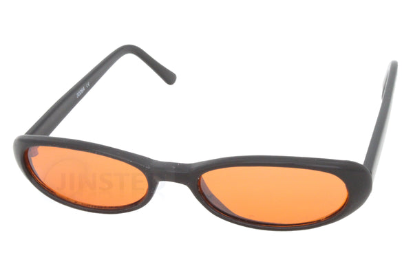 Adult High Quality Modern Orange Tinted Sunglasses Oval Lens Black Frame
