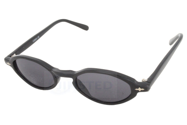 Adult High Quality Sunglasses Black Tinted Oval Lens and Frame