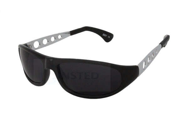 Adult Sports Wrap Sunglasses Black Frame and Lens Silver Arms