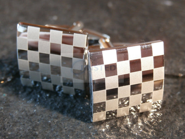 Mens Stainless Steel Silver Chequered Design Cufflinks CU001 Jinsted