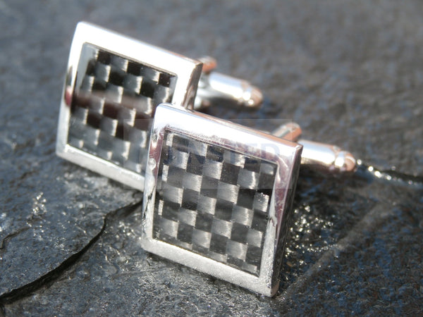 Mens Silver Stainless Steel Black Chequered Design Cufflinks CU002 Jinsted