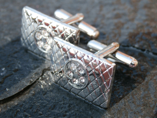 Mens Silver Stainless Steel 5 Gem Design Cufflinks CU003 Jinsted