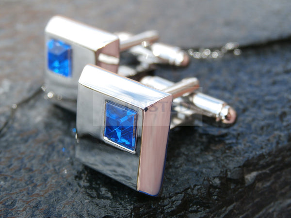 Mens Jewellery, Mens Silver Stainless Steel with Blue Gem Design Cufflinks, Jinsted