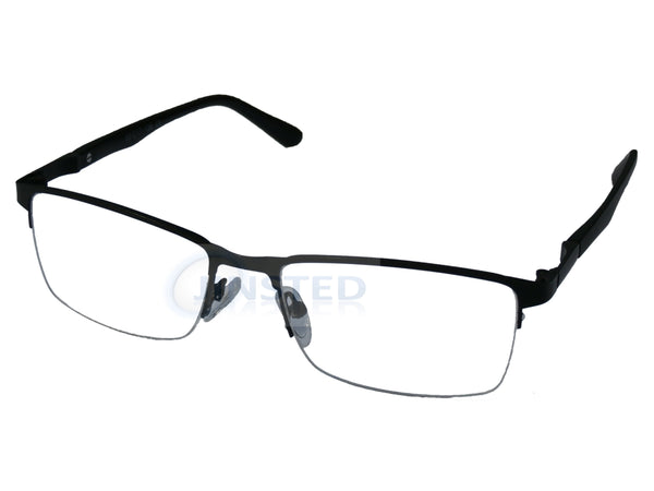 Black High Quality Luxury Swiss Designed Half Rim Glasses Frames.  FR010 Jinsted
