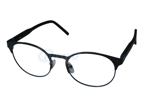 Glasses Frames, Black High Quality Swiss Designed Round Glasses Frames with Blue Rim, Jinsted