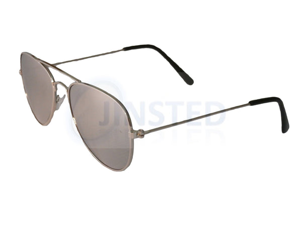 Silver Mirrored Reflective Aviator Childrens Sunglasses KA001 Jinsted