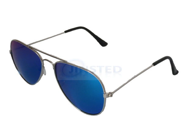 Childrens Sunglasses, Childrens Blue Mirrored Reflective Lens Silver Frame Aviator Sunglasses, Jinsted