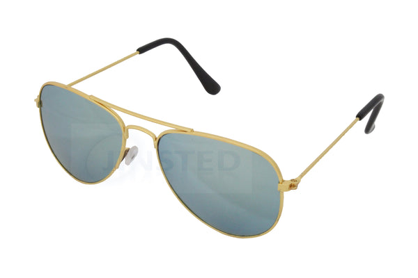 Childrens Green Mirrored Reflective Lens Gold Frame Aviator Sunglasses - Jinsted