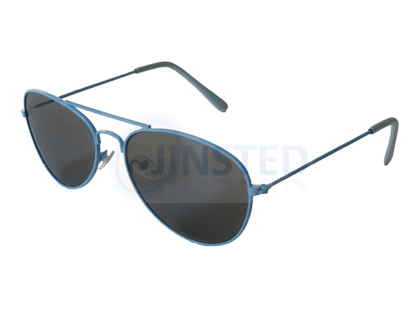 Childrens Sunglasses, Childrens Tinted Lens Light Blue Frame Aviator Sunglasses, Jinsted