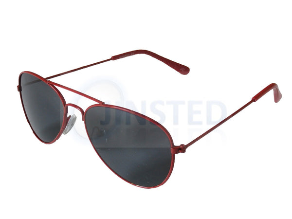 Tinted Lens Red Frame Aviator Childrens Sunglasses KA006 Jinsted