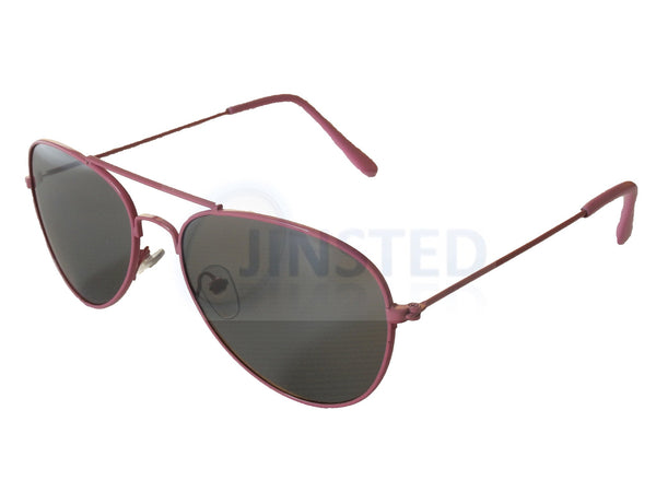 Childrens Sunglasses, Childrens Tinted Lens Pink Frame Aviator Sunglasses, Jinsted