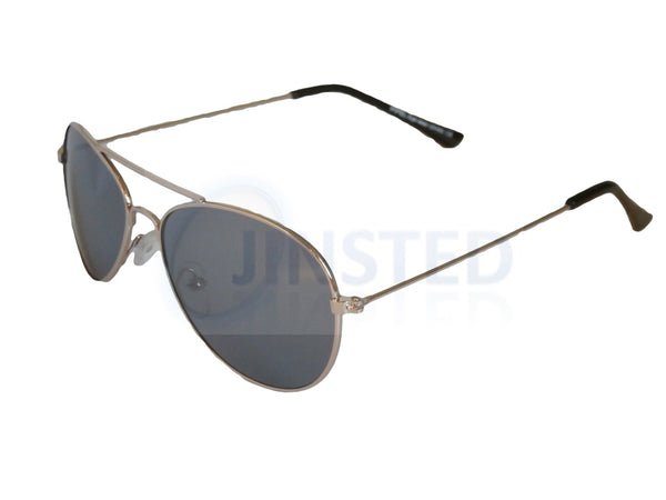 Tinted Lens Silver Frame Aviator Childrens Sunglasses KA010 Jinsted