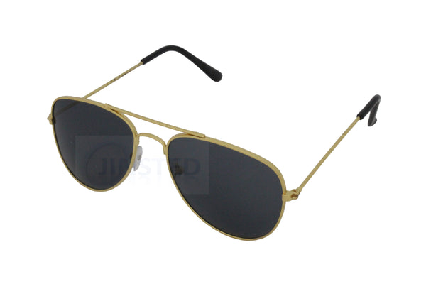 Childrens Black Lens Gold Frame Aviator Sunglasses - Jinsted
