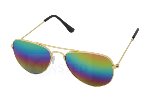 Childrens Mirrored Reflective Lens Gold Frame Aviator Sunglasses - Jinsted