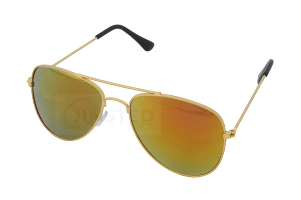 Gold Childrens Mirrored Reflective Lens Gold Frame Aviator Sunglasses