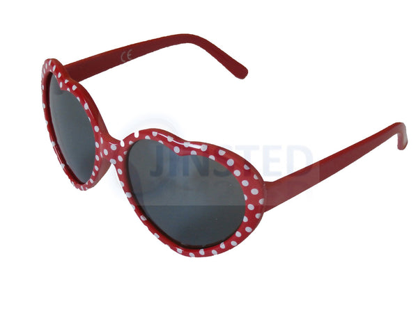 Sunglasses, Childrens High Quality Red Polka Dot Heart Shaped Sunglasses, Jinsted