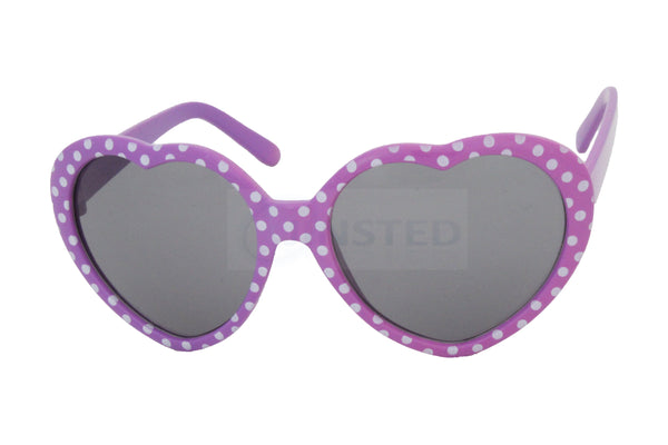 Childrens High Quality Purple Polka Dot Heart Shaped Sunglasses - Jinsted