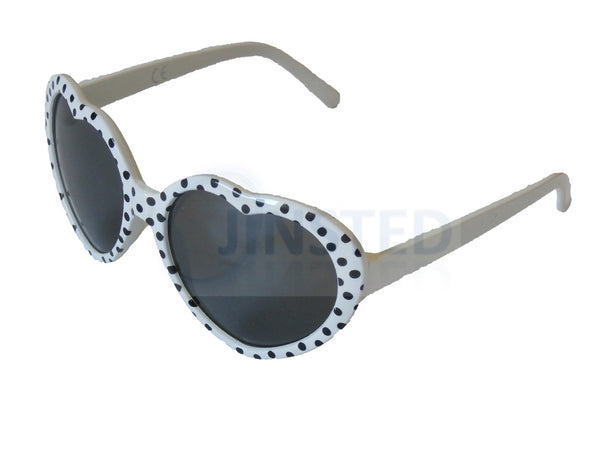 Sunglasses, Childrens High Quality White Polka Dot Heart Shaped Sunglasses, Jinsted