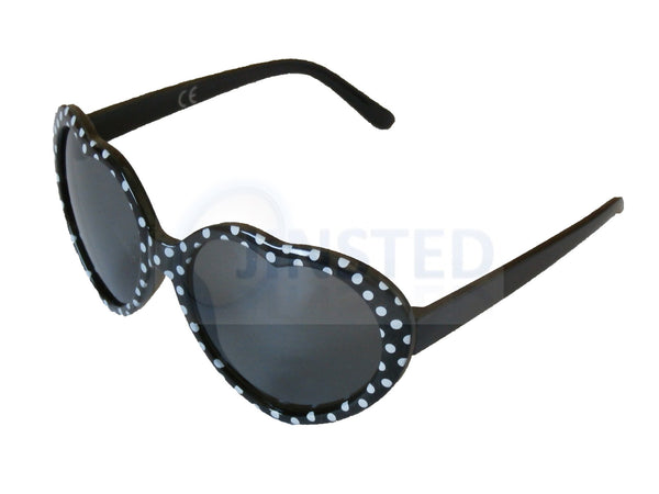 Sunglasses, Childrens High Quality Black Polka Dot Heart Shaped Sunglasses, Jinsted