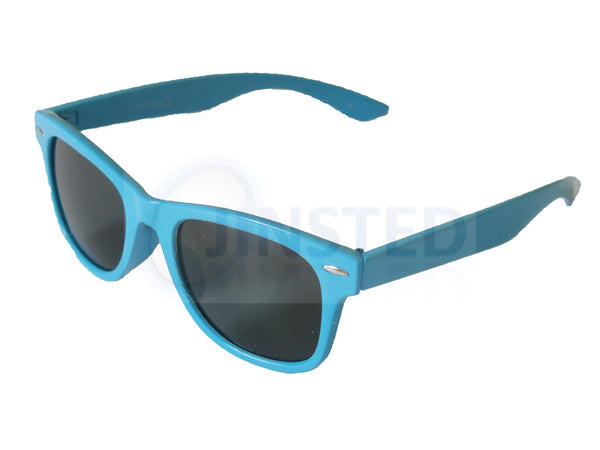 Childrens Sunglasses, Childrens Light Blue Frame Sunglasses Black Tinted Lens, Jinsted