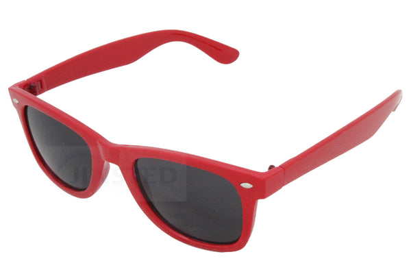 Childrens Red Frame Wayfarer Sunglasses Black Tinted Lens KR003 Jinsted