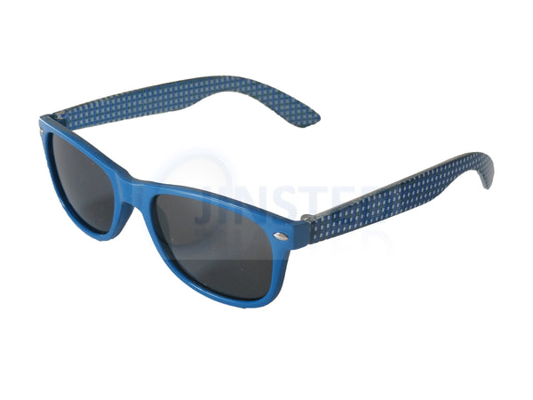 Childrens High Quality Blue Frame Wayfarer Sunglasses Black Tinted Lens KR007 Jinsted