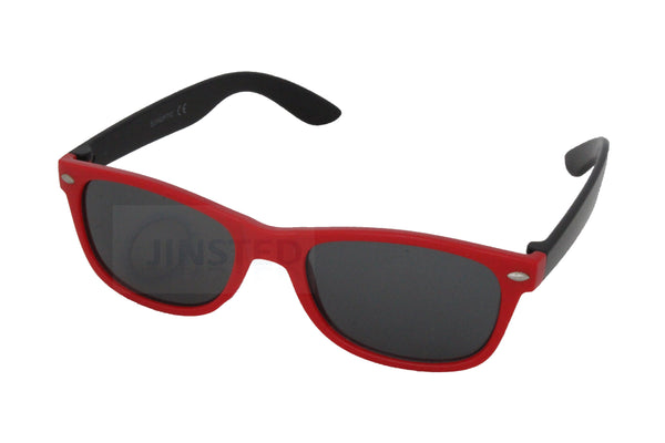 Childrens High Quality Red and Black Frame Wayfarer Sunglasses Black Tinted Lens KR008 Jinsted