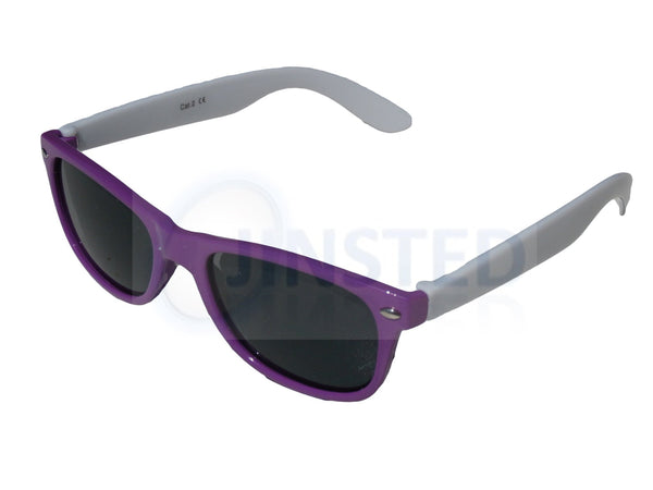 Childrens Purple and White Frame Wayfarer Sunglasses Tinted Lens KR010 Jinsted