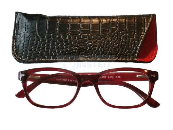 Adult Reading Glasses, Adult High Quality Swiss Design Red Reading Glasses, Jinsted