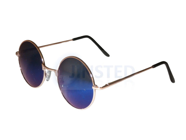 Adult Sunglasses, Blue Mirrored Teashades Sunglasses with Gold Frame, Jinsted