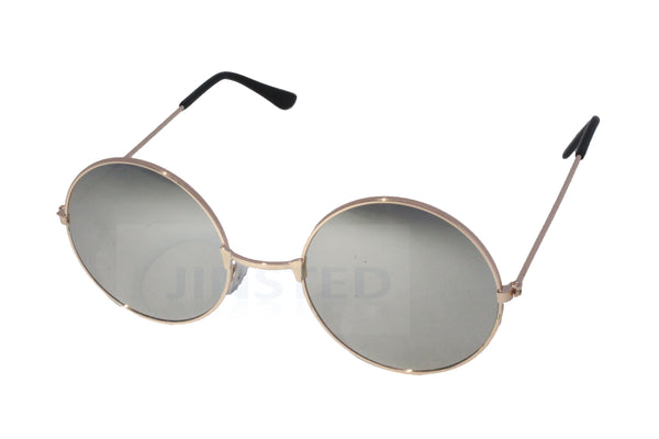Adult Sunglasses, Silver Mirrored Teashades Sunglasses with Gold Frame, Jinsted