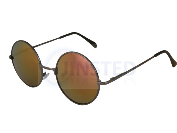 Red Gold Mirrored Teashades Sunglasses with Silver Frame SP007 Jinsted